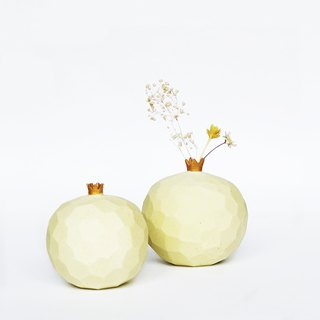 Handcrafted Ceramic Pomegranate Vase -Pastel Yellow