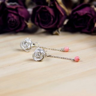 Rose Collection - Pinky Rose - 925 Silver Handmade Earrings in Sterling Silver Gift Wrap