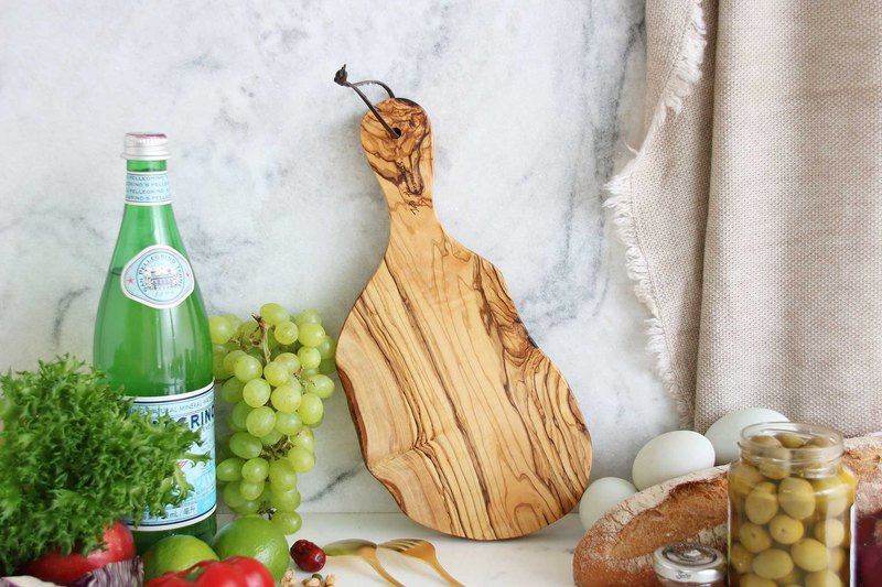 Olive wood ORIGINAL Natural Handle Cutting Board - 30cm   Tray/ Red Wine/ Bread/