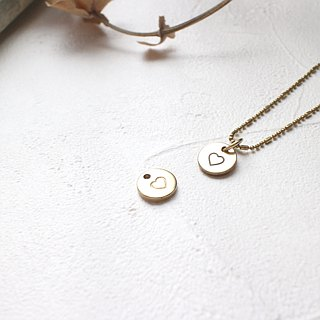 Little heart- brass necklace