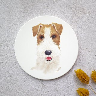 Watercolor style pet portrait coaster (bristle fox terrier)