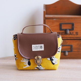 (small camera bag) Single small single-eye thick cotton camera bag (Mustard Yellow French Bulldog) B22