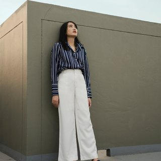 (CUSTOM) WHITE WIDE LEG BASIC PANTS WITH HIGH WAIST AND FLY FRONT ZIPPER
