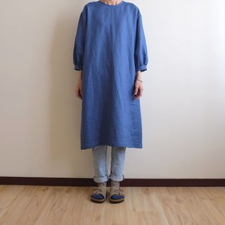 Daily Handmade Clothes Smoke Blue Puff Sleeve Straight Dress Linen