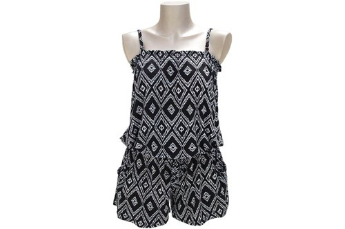 New! Ikat print camisole all-in-one <Black>