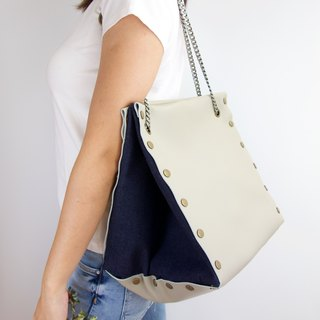 Large Create-your-own Cube Bag with beige/grey leather (starter pack)