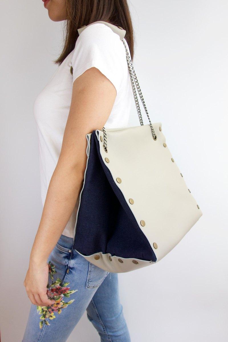 原創 大方形皮革 布包-米灰色套裝-多款圖案自由配搭隨時替換
