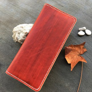 Xuan window leather art - handmade leather - long clip simple dyeing hand-made tanned chrome enamel custom-made Wenchuang Wen Qing