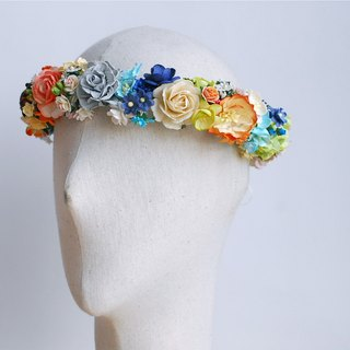 Paper Flower, flora crown, circle diameter 20 cm., adjustment on the back. Grey, mint, deep blue, peach ,dry brown, green and ivory color