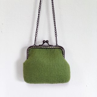 Grass green wool felt gold bag / purse