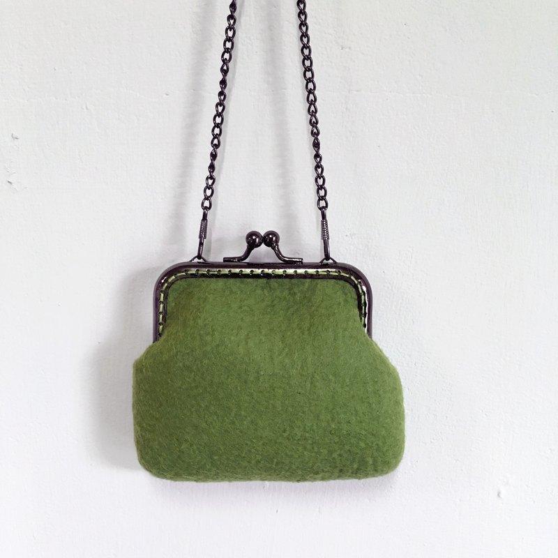 草綠色 羊毛氈 口金包/零錢包