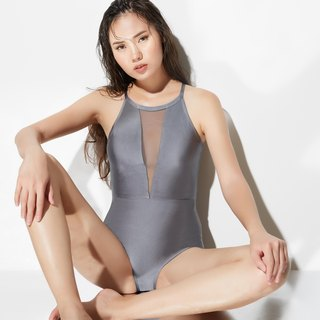 'Zenia' Mesh One Piece Swimsuit  - Color Metallic Grey (CREX76)
