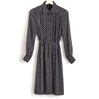 Vintage cute strokes vintage long-sleeved dress