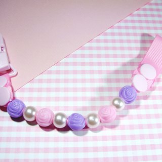 Cheerful custom name baby pacifier chain nipple clip can change vanilla pacifier with pearl rose