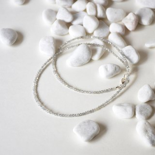 Handmade Sterling Silver with Tiny Moonstone Beads Necklace, Birthstone for June