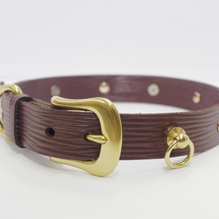 Limited edition brown water ripple high leather collar (limited to 8 pieces, send English phone brand name)