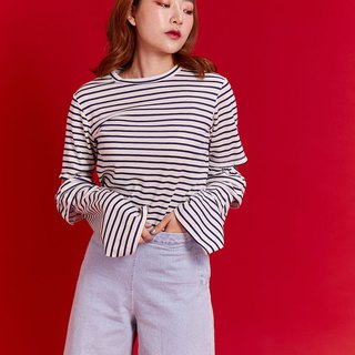 Sleeves flare cut tee (White)