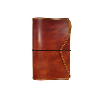 Six-hole notebook / hand dyed / double needle hand sewing / custom / Italian vegetable tanned leather
