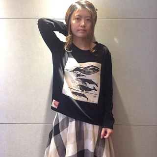Design No.WH100 - 【Whale Diagram】Handmade Long Sleeve T-Shirts