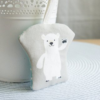 Lovely polar bear greets T-shirt shape peace symbol bag, amulet bag, jewelry bag, gray bottom E