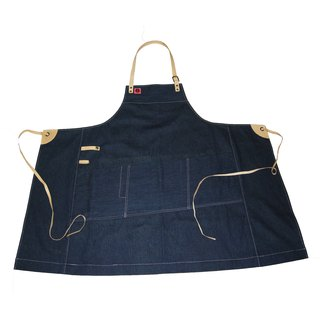 Leather belt denim apron (denim dark blue dyeing) __made as zuo zuo hand leather belt apron
