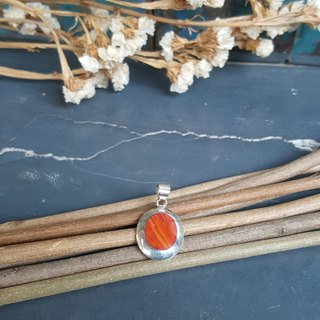 Red Coral Silver Pendant