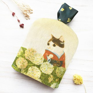 Cat Ukiyo-painting - Hydrangea / Key Storage Bag
