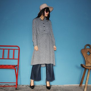 [Vintage dress] gray belt long-sleeved vintage dress F3138 (Christmas gifts Christmas exchange gifts)