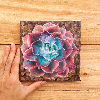 Succulent Painting- Maroon Red Botanical Artwork Garden Nature Plant Still Life.