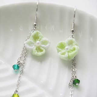 Fabric Clover drop Earrings Clip-on 14KGF,S925 custom