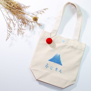 Wool felt embroidery Fuji mountain canvas small bag pre-order in October