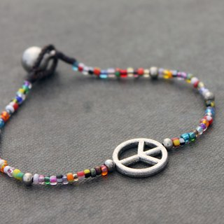 Peace Charm Glass Beads Bracelets Silver Rainbow Seed Beads