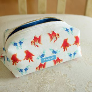 Cosmetic Case Makeup Bag Zipper Pouch Porch goldfish red yellow blue green