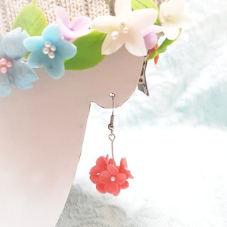 Pearl powder flower ball earrings