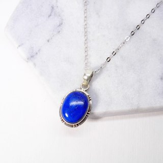 Simple silver lapis lazuli necklace inlaid hand-made in Nepal