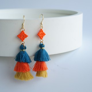 Orange Beaded Fringe Long Earrings