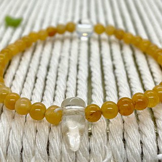 BR0379 - Natural Gemstone Bracelet - Design and Manufacture - Natural Topaz and White Crystal