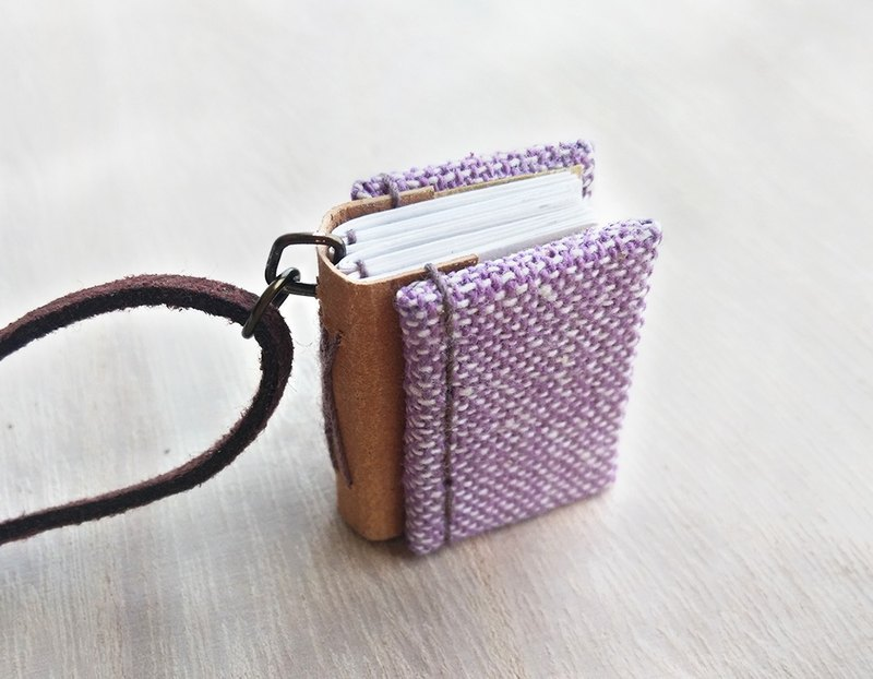 Mini Book Necklace (purple), with adjustable faux suede cord