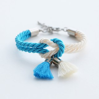 Candy blue & Cream knot bracelet with tassels