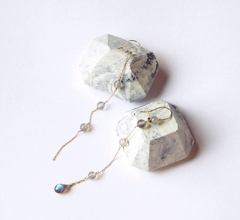 Non-scaling light sense top ice transparent body labradorite cold tone temperament 14K long earrings asymmetric Christmas moonlight