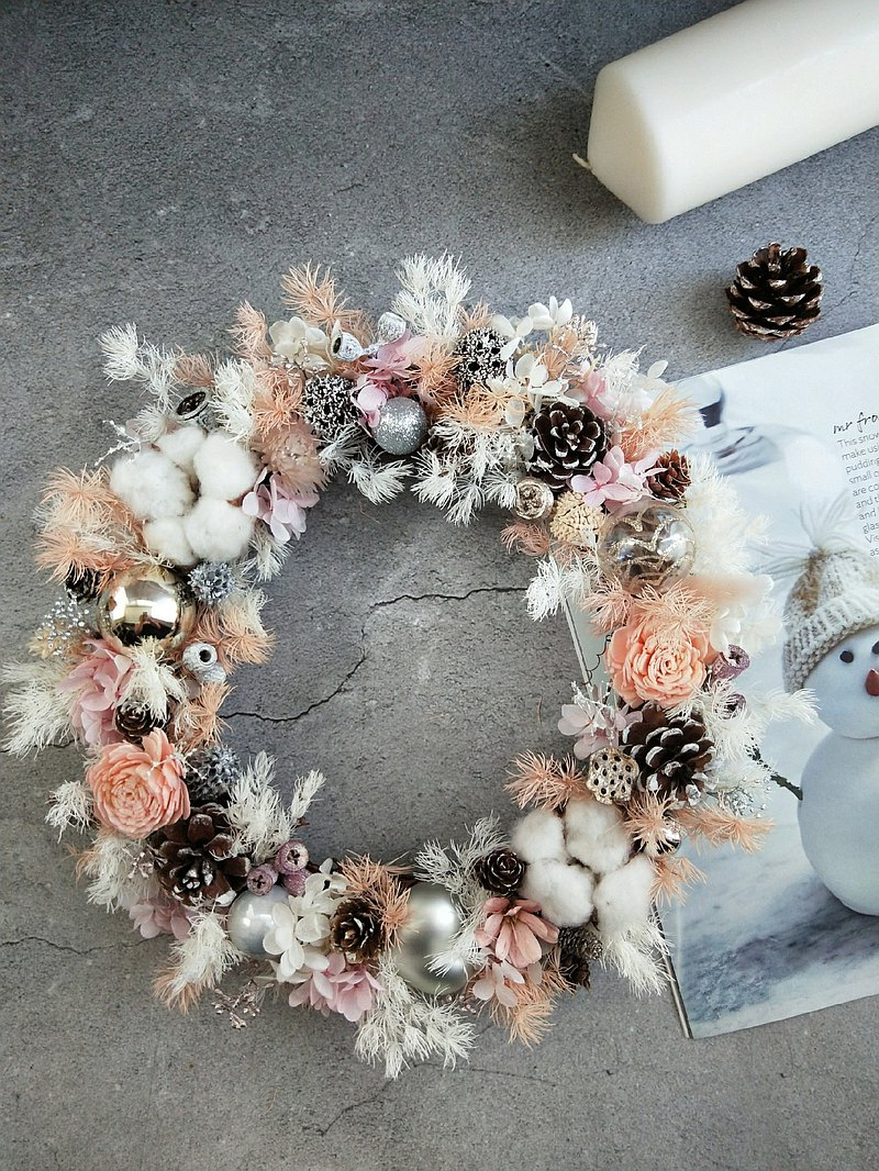 Pink Everlasting Wreath-Opening without withered flowers (with LED lighting) // Spot //