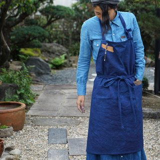 cafe apron  /natural indigo