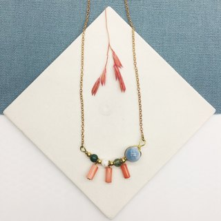 Laolin groceries l skirt swinging small tassel necklace sea sapphire - blue and green treasure - coral - white stone