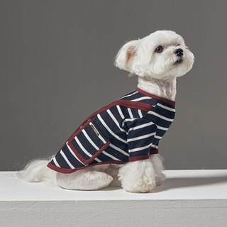 Large V-collar placket piping design striped pet clothing