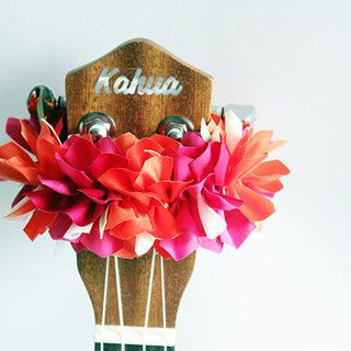 ribbon lei for ukulele (Bougainvillea op) / ukulele strap / ukulele ribbon /