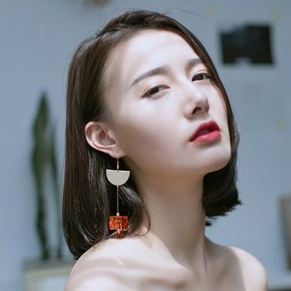 ESCA STUDIO • Autumn Aki retro romantic coral orange metal crystal Dijiao earrings earrings earrings