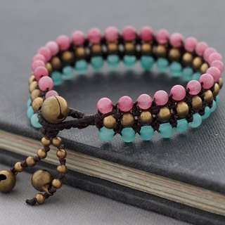 Pink Stone Woven Bracelets Row Wristband Sweet Pastel Braided