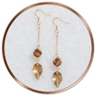 ITW Olive Wood Earring - Dancing Golden Leaf