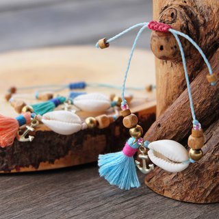 Sea shell with anchor and blue pink tassel beach bracelet