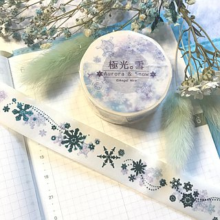 Aurora snow - snowflake and paper tape (aurora blue foil gold charge) (including the end of the paper)